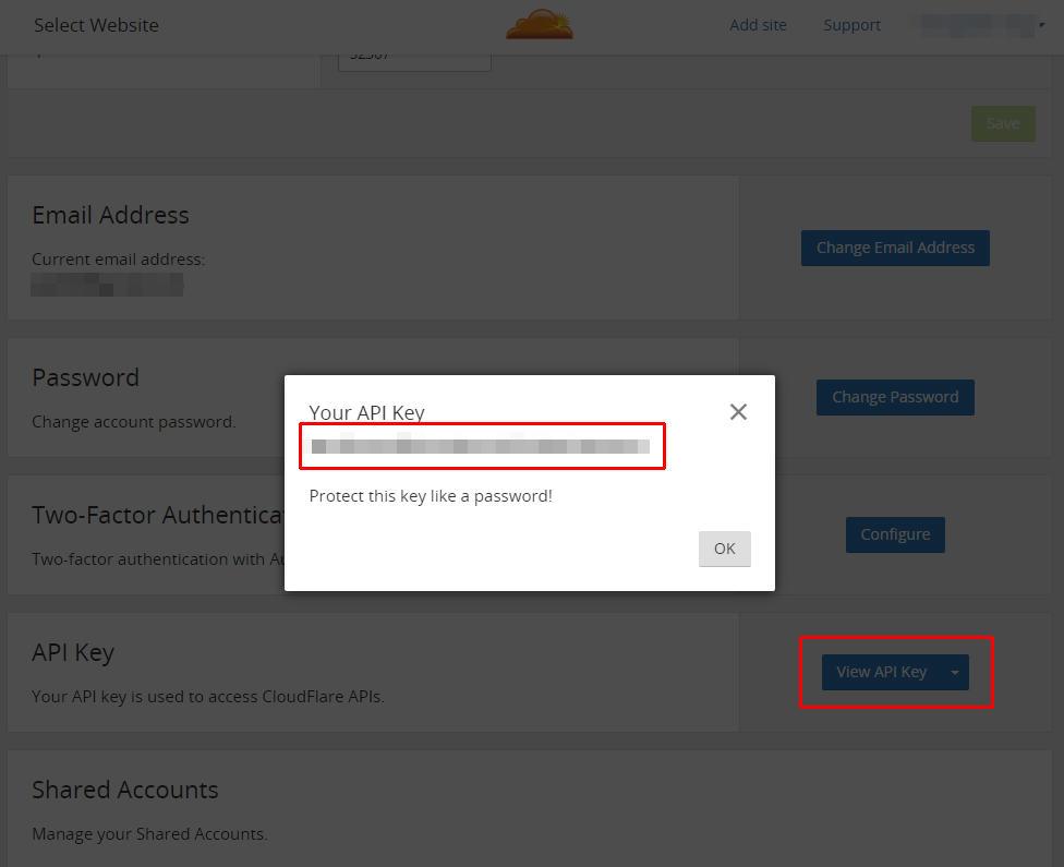 [ My Account를 눌러 나온 곳에서, View API Key를 눌러 API Key를 확인합니다. ]