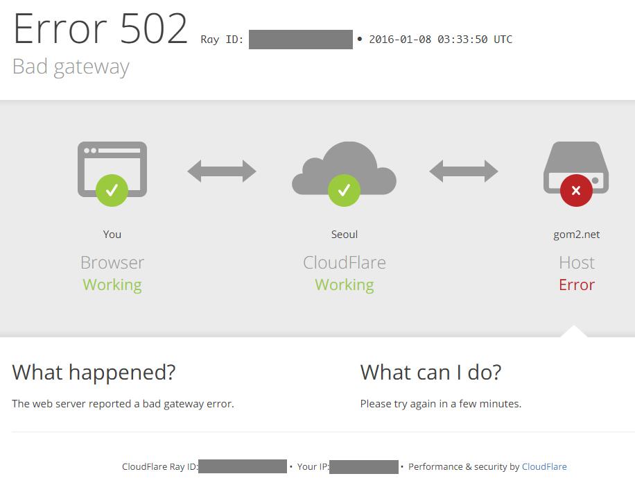 [ 필자의 경우는 CloudFlare의 502 에러 페이지입니다만, 이와 유사한 에러가 자주 등장 ]
