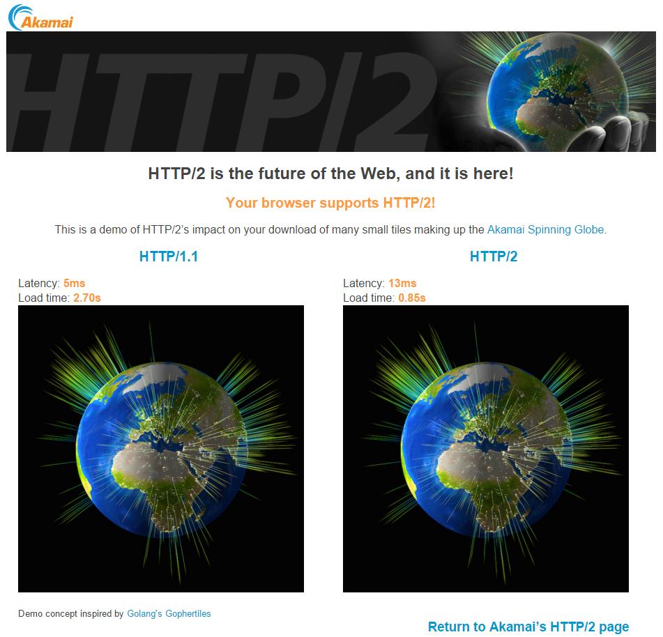 [ Akamai에서 HTTP/2가 지원되는 브라우저로 접속하여, HTTP/2의 속도 향상을 보여주는 장면. 실제 테스트가 필요하신 분들은 https://http2.akamai.com/demo 서 진행 가능합니다. ]