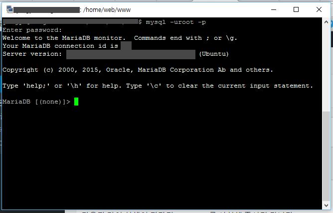 [ mysql 명령어를 사용하여, MariaDB에 접속해 봅니다. ]